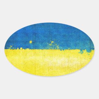 Gritty Ukraine Flag Oval Sticker