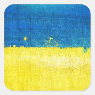 Gritty Ukraine Flag Square Sticker