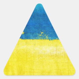 Gritty Ukraine Flag Triangle Sticker