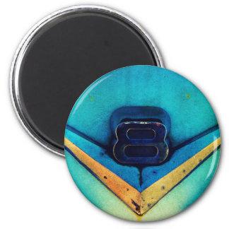 Gritty V8 Engine Emblem 2 Inch Round Magnet