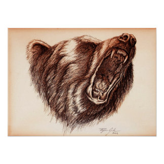 Grizzle Bear growling Poster