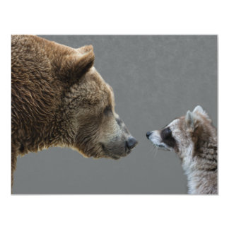 Grizzle Bear Meets Raccoon 4.25x5.5 Paper Invitation Card