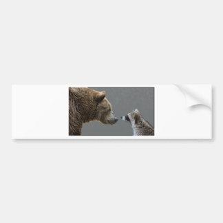 Grizzle Bear Meets Raccoon Bumper Sticker