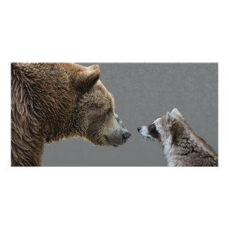 Grizzle Bear Meets Raccoon Card