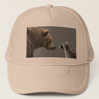 Grizzle Bear Meets Raccoon Trucker Hat