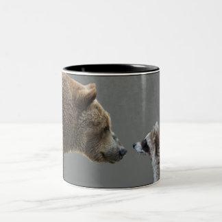Grizzle Bear Meets Raccoon Two-Tone Coffee Mug