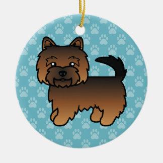 Grizzle Color Norwich Terrier Cartoon Dog Ceramic Ornament