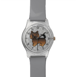 Grizzle Color Norwich Terrier Cartoon Dog Wristwatch