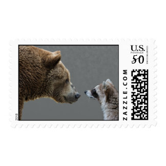 Grizzle Meets Racoon Postage