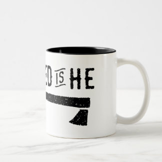 Grizzled Is He : Caffeinated Is He Two-Tone Coffee Mug