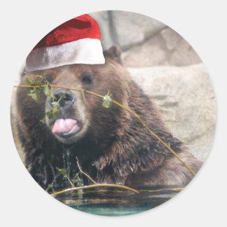 Grizzley Bear in a Santa Hat Round Sticker