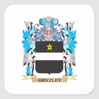 Grizzley Coat of Arms - Family Crest Square Sticker