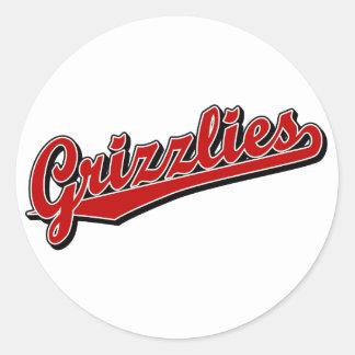 Grizzlies in Red Classic Round Sticker
