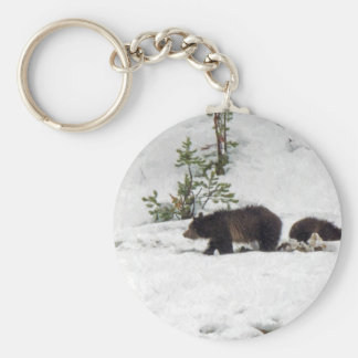 Grizzlies in the Snow Keychain