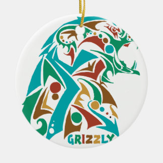 Grizzly Bear Abstract Design Ceramic Ornament