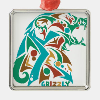 Grizzly Bear Abstract Design Metal Ornament