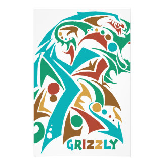 Grizzly Bear Abstract Design Stationery