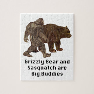 Grizzly Bear and Sasquatch are Big Buddies Gifts Jigsaw Puzzle
