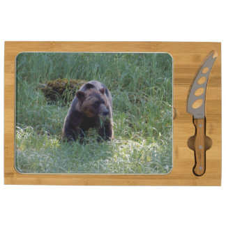 Grizzly Bear and Wild Grasses Wildlife Photo Cheese Board