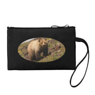 Grizzly bear and wildflowers change purse