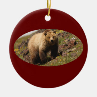 grizzly bear and wildflowers Double-Sided ceramic round christmas ornament