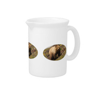 Grizzly bear and wildflowers beverage pitchers
