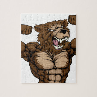 Grizzly Bear Animal Mascot Jigsaw Puzzle