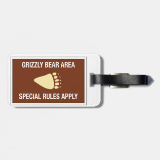 Grizzly Bear Area, Sign, Wyoming, US Tag For Bags