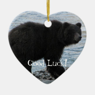 Grizzly Bear at Dyea Double-Sided Heart Ceramic Christmas Ornament
