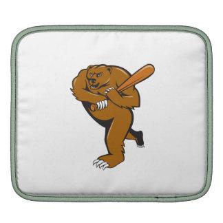 Grizzly Bear Baseball Player Batting Cartoon Sleeve For iPads