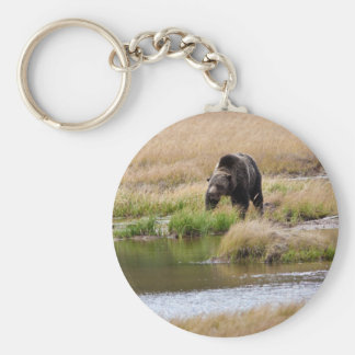 Grizzly Bear Basic Round Button Keychain