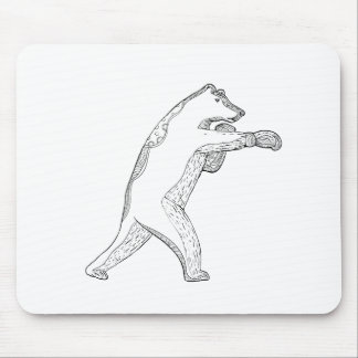Grizzly Bear Boxing Doodle Art Mouse Pad