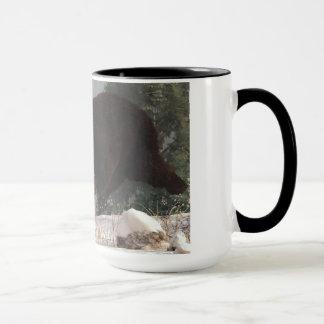 Grizzly Bear Chasing Rabbit Mug