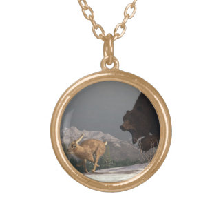 Grizzly Bear Chasing Rabbit Pendants