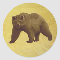 Grizzly Bear Classic Round Sticker