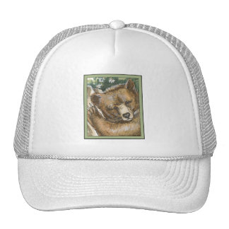 Grizzly Bear Cub and Tree Stump Trucker Hats
