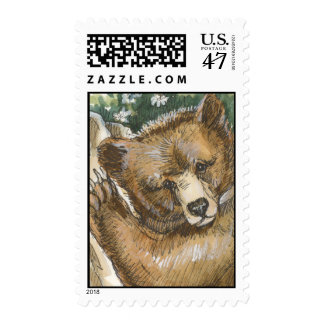 Grizzly Bear Cub and Tree Stump Postage Stamp