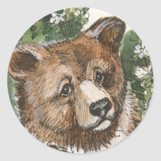 Grizzly Bear Cub Classic Round Sticker