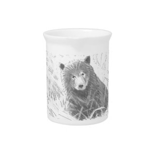 Grizzly Bear Cub Drawing Beverage Pitchers