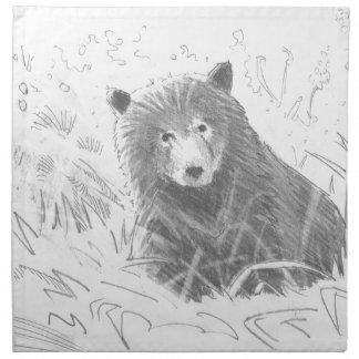 Grizzly Bear Cub Drawing Cloth Napkins