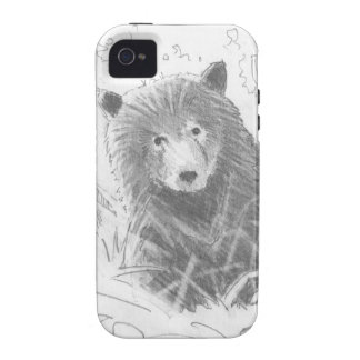 Grizzly Bear Cub Drawing iPhone 4/4S Cases