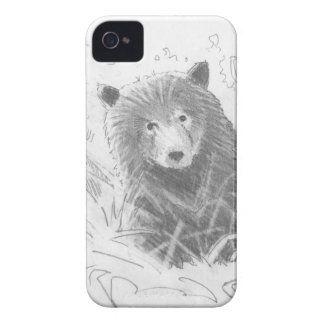 Grizzly Bear Cub Drawing iPhone 4 Case