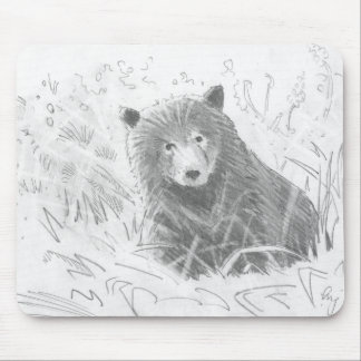 Grizzly Bear Cub Drawing Mouse Pad