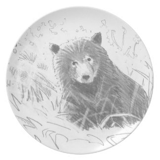Grizzly Bear Cub Drawing Party Plate