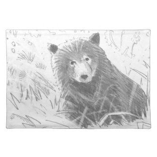 Grizzly Bear Cub Drawing Cloth Placemat