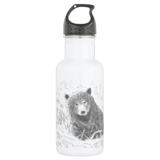 Grizzly Bear Cub Drawing Stainless Steel Water Bottle