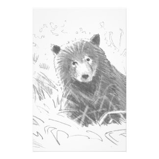 Grizzly Bear Cub Drawing Stationery