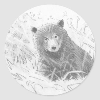 Grizzly Bear Cub Drawing Classic Round Sticker