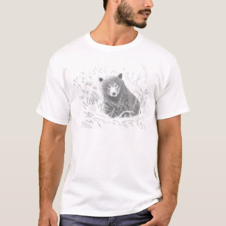 Grizzly Bear Cub Drawing T-Shirt