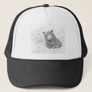 Grizzly Bear Cub Drawing Trucker Hat